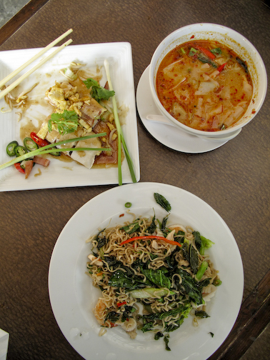 Spicy basil noodles. The basil leaves are actually fried so they are crunchy!  Tom Yum Soup.  Spring rolls