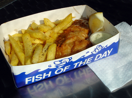 Right behind the fish market was a fish and chips place.  I watched them fillet the fish, batter it and drop it into the fryer.  Not a bad first NZ meal!