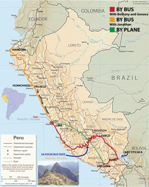 Map Of My Journey Through Peru