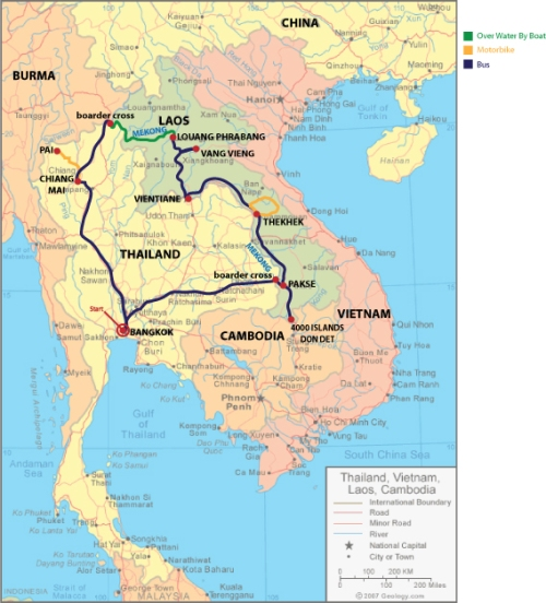 Map of My Trip Through Southeast Asia