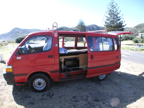1996 Toyota Hiace.  The best make and engine of van you can get in NZ