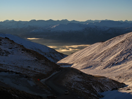Afternoon Sun on the Southern Alps. From the remarks road.