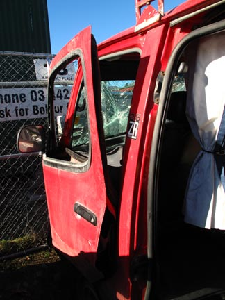 Buckled Passenger Side Door, Back
