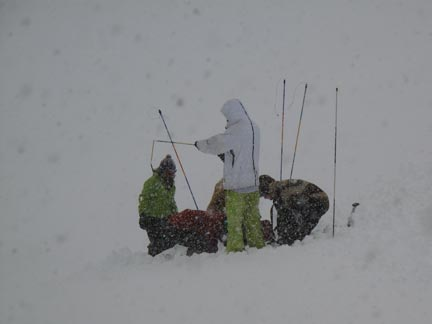 Find the Pack Buried in the Snow.  Use Those Probes (glorified tent poles)
