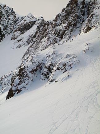 Some of the terrain to the left of the lift.  This is the lower section.  Above are several wide, very steep chutes