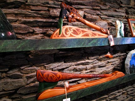 Wood and Jade Axes.  Used by the Maori as tools and weapons.  As I said before Jade is one point harder that steel.