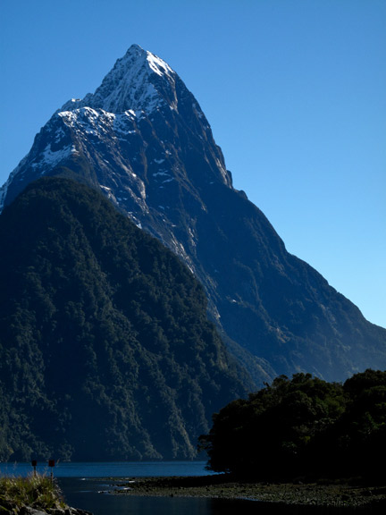 Mitre Peak, Milford Sound.  This is the tallest mountain in the world that starts at sea level.