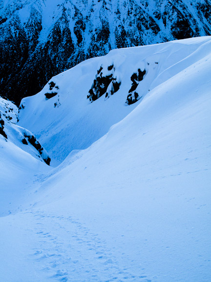 One of the many deep fun powder filled gullies