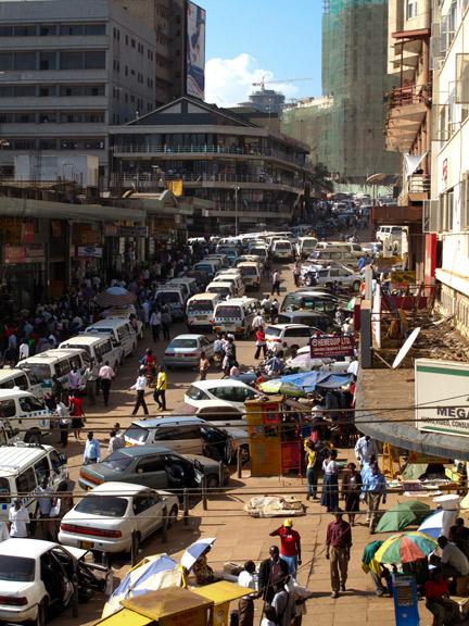 Busy Kampala Corner Near the Taxi Park