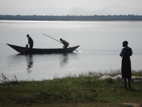 School Girl and Fishing Boat