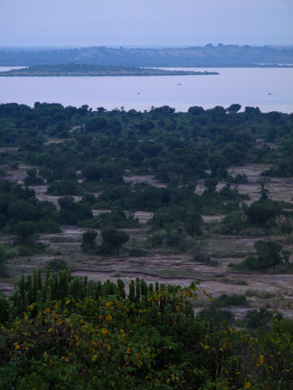 Early morning overlook of the lake.  This is at 6 a.m. right before we caught the bus for our game drive.