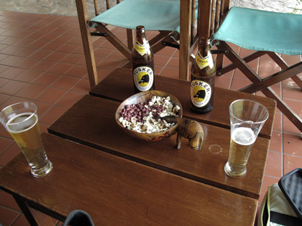 Tusker Beer, g-nuts (peanuts), popcorn and birds, a great way to spend an afternoon after animal watchin'