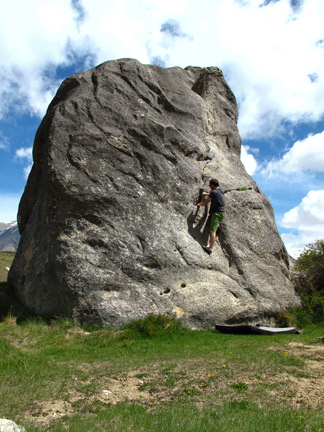 Climbing Temple Boulder