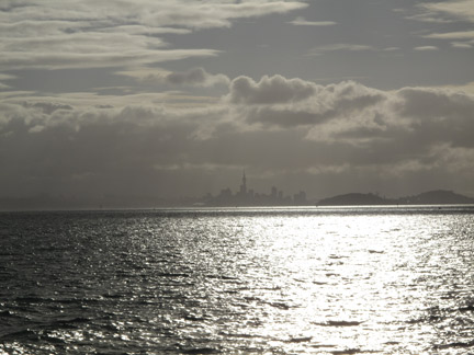 Looking Back at Auckland from Ferry