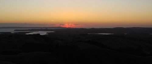 Kaipara Harbour Sunset.  This is the largest harbor in New Zealand. It is on the way to Langs.  The evening we drove up there was an amazing sunset.