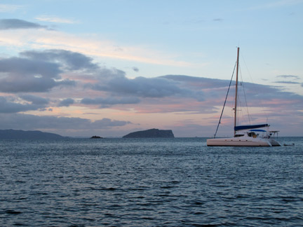 View in the evening from the mooring near Slipper Island