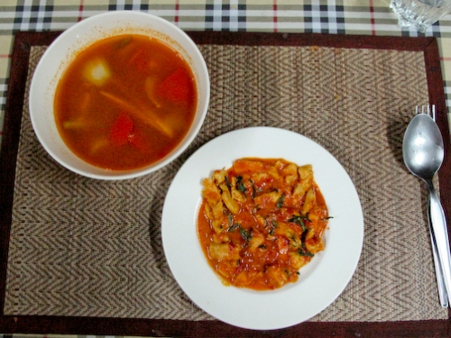 Tom Yum soup and Marsaman Curry