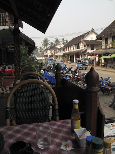 Sitting in a cafe in Luang Prabang