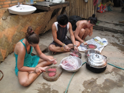Preparing Lap, the local food in northern Loas.  It is finely chopped chicken, beef, or fish, mixed with spices and finished with mint.  Its amazing!