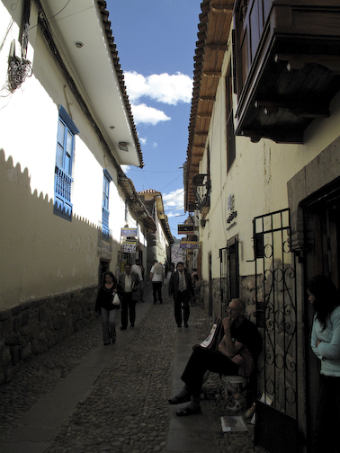 One of the many narrow streets leading away from the Plaza de Armas