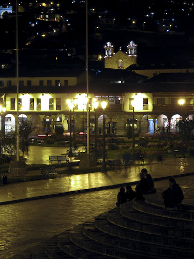 Drink on a terrace overlooking the Plaza De Armas