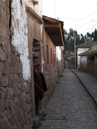 Chinchero resident in doorway.