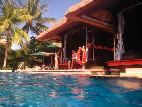 Cabanas around the pool.