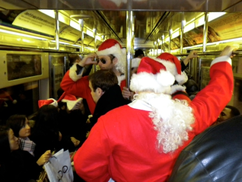 Santa Catches the 5 Train